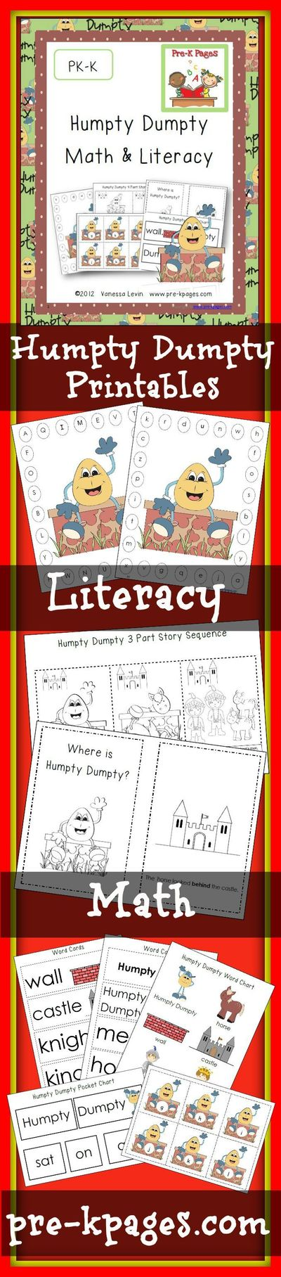 Humpty Dumpty nursery rhyme lesson plans for preschool, pre-k, and kindergarten Humpty Dumpty Books Humpty Dumpty Literacy Activities Alphabet Clothespin Activi