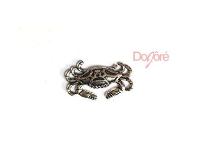 CLEARANCE Pack of 20 Silver Coloured Crab Charms. HOLELESS Scrapbooking Pendants. 19mm x 13mm £8.99