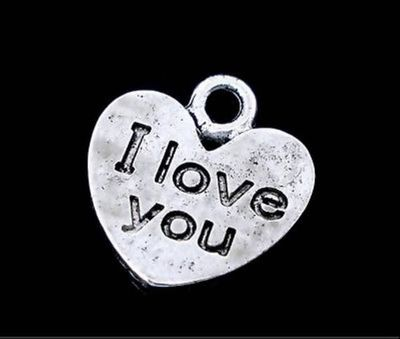 20 x Silver ' I LOVE YOU ' Heart Charms. 12mm x 11mm x 1mm. Valentine's Day Pendants. Romantic Arts, Crafts, Jewellery Making & Accessories £3.79