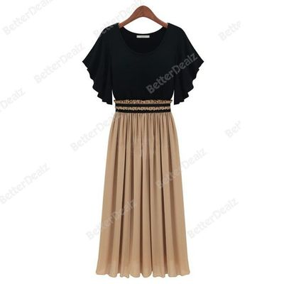 Fashion Women Chiffon Dolman Short Sleeve Maxi Long Party Evening Dress Hot