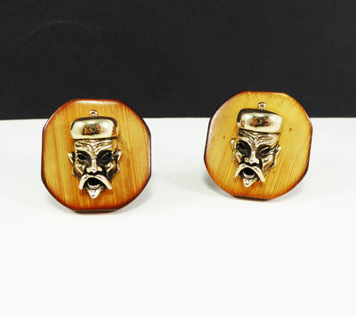 Asian Man with Mustache Cufflinks Signed SWANK Brown Wood Vintage 1940's 1950's Emperors Men's Cuff Links, Mid Century Mens Fu Manchu $85.00