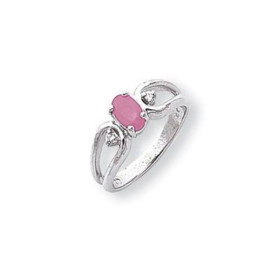 0.034 Ct 14k White Gold 6x4mm Oval Pink Sapphire Diamond Ring I1 Clarity and G/I Color $363.99