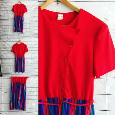 Vintage Dress Knee Length Colorful Red Orange Blue Green Pleated Skirt with Draw Tie Waste String $89.99