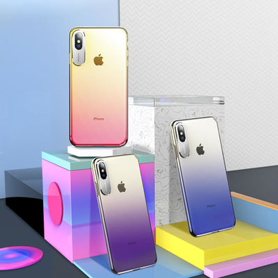 Rock Slim Gradient Protective Case For iPhone XS Max Camera Lens Protective Back Cover - Purple