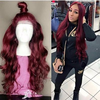 Body Wave 99J Colored Lace Front Human Hair Wigs Black Women Deep Part Burgundy Lace Front Wig Pre Plucked Brazilian Remy $362.92