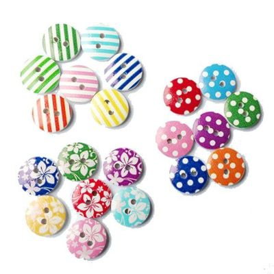 Pack of 50 Wooden Assorted 15mm Buttons. Flowers, Polka Dots and Stripes. Perfect for Upholstery, Dressmakers, Sewing, Crafts & Cardmaking £2.89