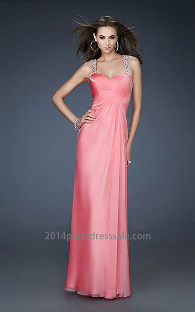 Chiffon Coral Sweetheart Long Open V-back Prom Dress