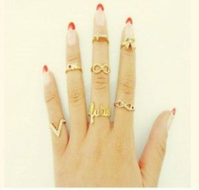 7 Pcs New Vintage Mix Top Fashion Knuckle Gold Cut Above Ring Band Midi Rings