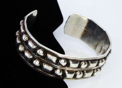 Sterling Silver Bracelet Mexican Silver Cuff, Raised Beading Round and Square, Signed Mexico TI-65, 925 Vintage 1980's Southwestern Style $185.00