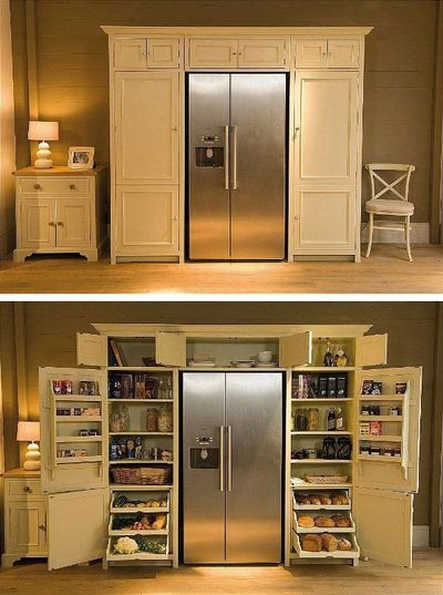 Fridge with pantry surround - love the pull out drawers for vegetables! Oh someday!!