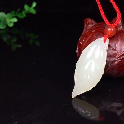 Hetian jade pendant-white jade pendant necklace-leaves necklace-Hetian jade necklace-necklaces for women-necklaces for women with stones