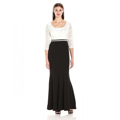 Alex Evenings - 1121571 Lace Embellished Black and White Dress - Designer Party Dress & Formal Gown
