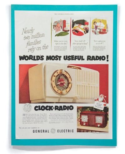 1951 General Electric Clock-Radio Ad Magazine Advertisement Wall Art $11.00