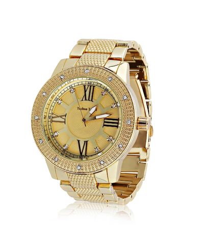 Men's Extra Large Gold Plated Round Roman Numeral Clock Face Flat Lens Watch £62.10
