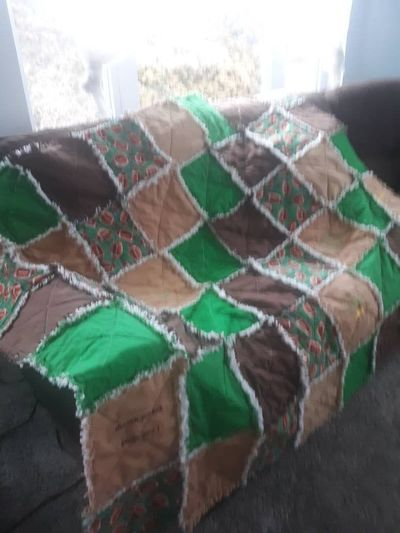 Football Rag Quilt- Warm Superbowl Throw Blanket- Game Day Comforter Throw- Tailgate Party Bash Quilt-Machine Embroidered Football Cheers $75.00