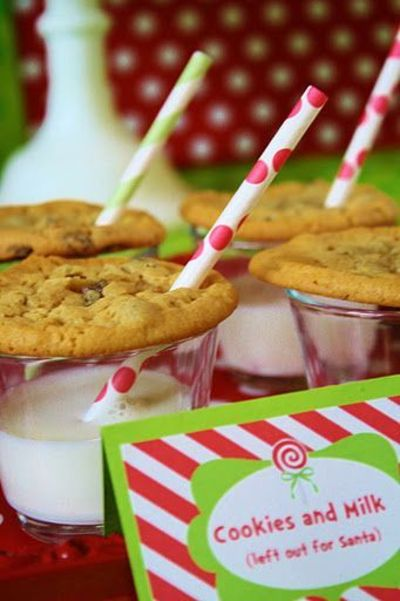 Cute way to display cookies and milk - toddler's birthday party? Might have to have Auntie Reinhardt make the cookies for these.