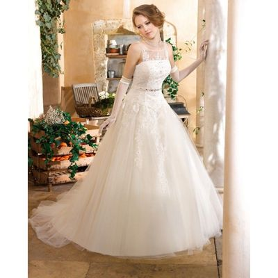 Honorable A-line Straps Beading Lace Sweep/Brush Train Tulle Wedding Dresses - Dressesular.com