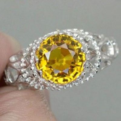 INCREDIBLE YELLOW SAPPHIRE REAL 925 STERLING SILVER RING SIZE 9