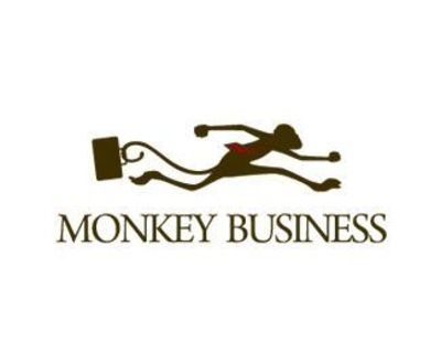 this logo is great having a monkey wearing a tie and carrying briefcase, and that is what the name is.