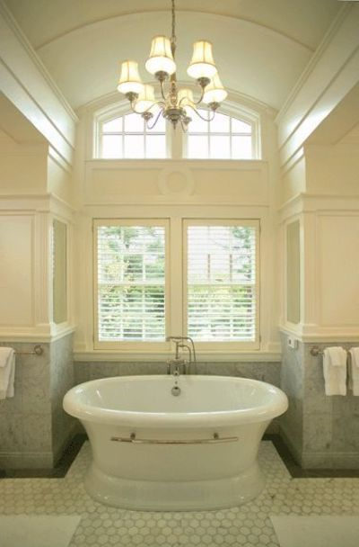 Master bath with barrel vaulted ceiling free standing spa for Master bathroom vaulted ceiling
