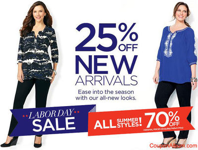 """Catherines Labor Day Sale �€"""" 25% Off New + 70% off Summer Styles."""