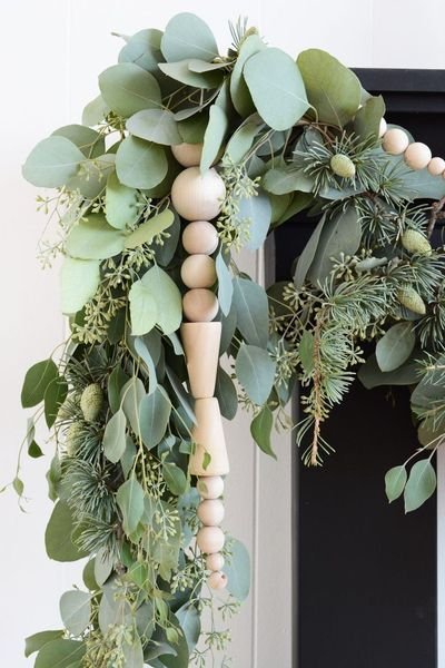 Bead and fresh greenery garland