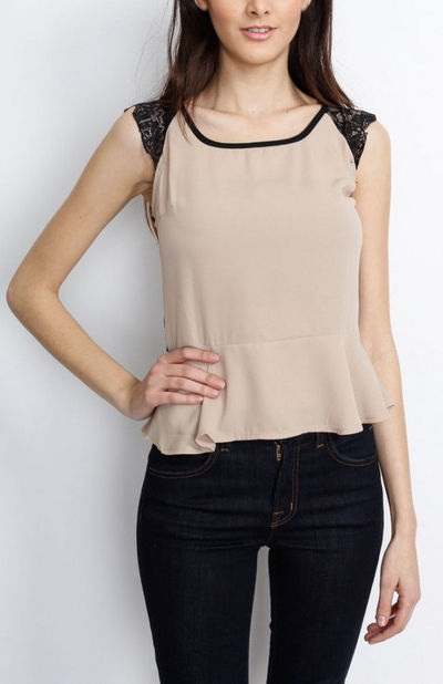Lace Back Peplum Taupe Top