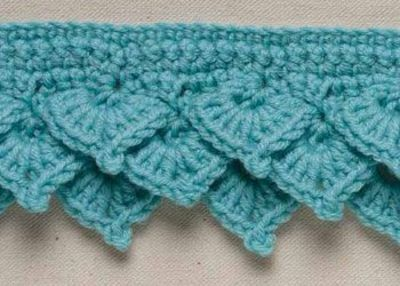 Crocheting In Rows : Crochet Shell Edging: Tiered Offset Shells in Rows / crochet ideas and ...
