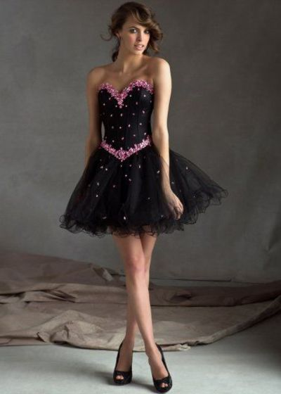 Beaded Short Black Corset Back Pink A Line Strapless Homecoming Dress