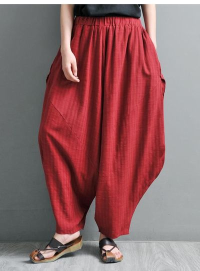 Harem Pants, Linen Yoga Pants, Drop Crotch, Wide Leg and High Waist, Red wine and black, Women