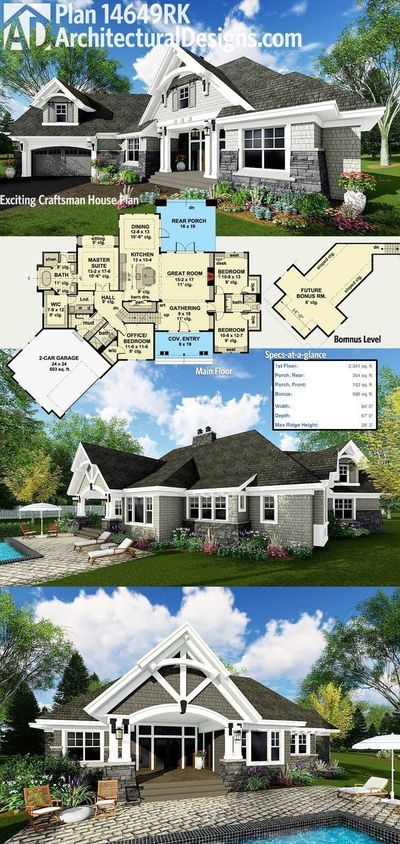 Architectural Designs Craftsman House Plan 14649RK gives you over 2,300 square feet of heated living space plus bonus expansion over the garage. The garage comes off at an angle giving it a dynamic presence and there is an outdoor living room in back. Rea...