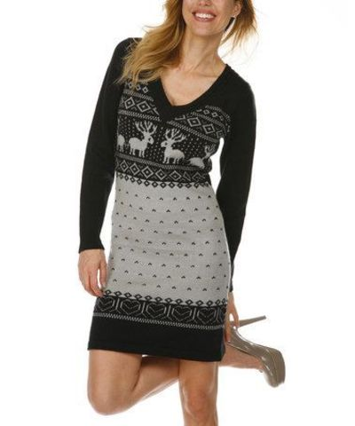 287473ca6b6 Take a look at this Black   Gray Fair Isle Sweater Dress by White Mark on