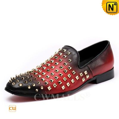 Custom Father's Day Gift | Men Spiked Studded Leather Loafers CW719105 | CWMALLS.COM