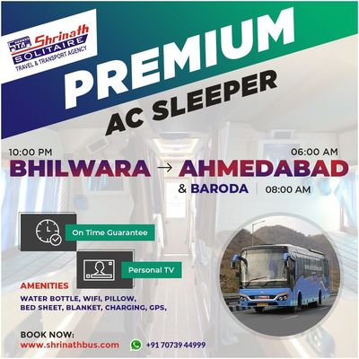 Premium AC Sleeper from Bhilwara to Ahmedabad & Baroda
