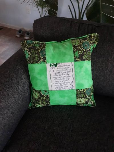 Green Irish Blessing Pillow- St.Patricks Day Home Decor- Green Clover Patchwork Pillow- Embroidered-Handmade- Square Pillow $45.00