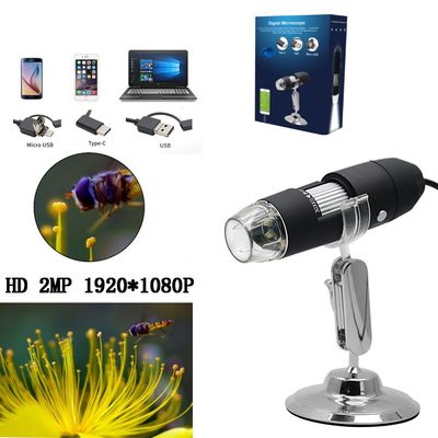 HD 2.0MP 1000X 3 IN 1 USB Android Type-c Microscope Stereo Electronic Digital Microscope 1920*1080P Resolution Support Android Windows Vista System