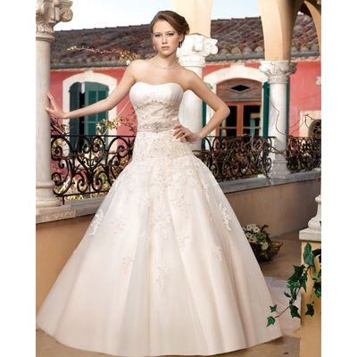 Generous Ball Gown Strapless Beading Lace Sweep/Brush Train Tulle Wedding Dresses - Dressesular.com