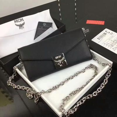 MCM Large Patricia Chain Wallet In Black