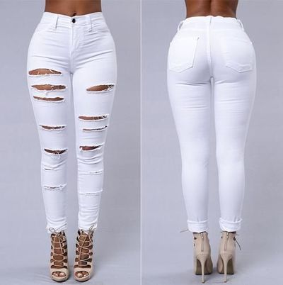 New 2018 High Waist Hole Stretch Pencil Skinny Ripped Denim Jeans Pants Plus size $40.99