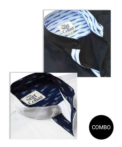 BLACK AND WHITE SATIN IKKAT ART MANDARIN COLLAR SHIRT COMBO �'�2999.00