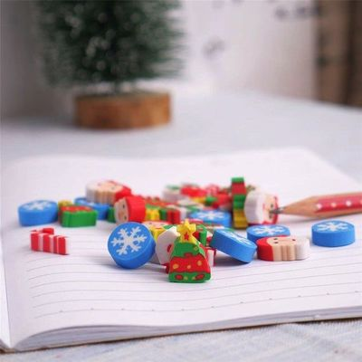 Assorted Colours Christmas Erasers. Pack of 30 Mini Xmas Santa Novelty Rubbers. £4.19