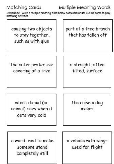Multiple Meaning Words A Website With Lists Worksheets