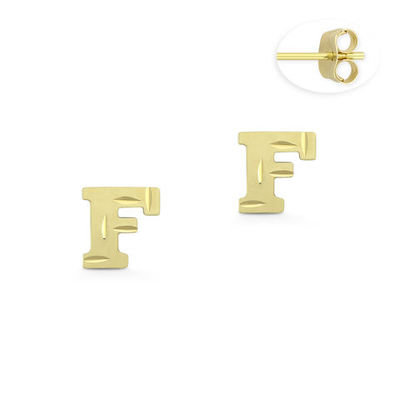 "Initial Letter ""F"" Stud Earrings with Push-Back Posts in 14k Yellow Gold - BD-ES051F-14Y"