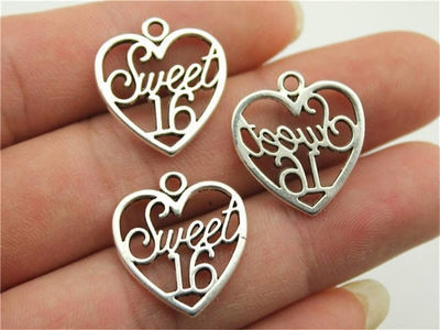 Pack of 10 Silver Coloured SWEET 16 Heart Charms. 19mm x 21mm Happy Birthday Pendants £3.69