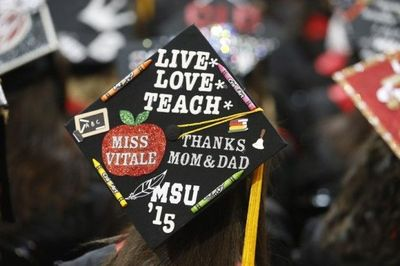 Graduates decorate their caps to personalize them and stand out in the crowd.