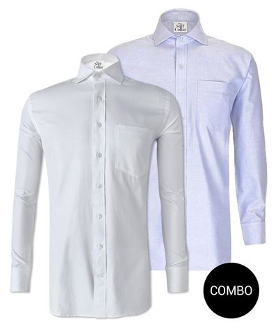 White Herringbone 2 Ply and Blue Oxford Regular Fit Cotton Shirt Combo Pack �'�2499.00