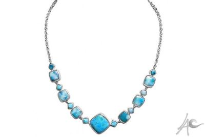 Diamond Necklace (22 inch built in chain with 22x22 mm center stone / 36.5 grams) - Larimar