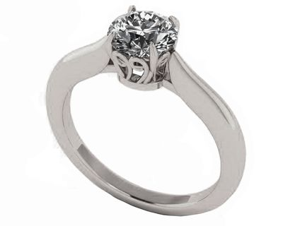 Filigree Solitaire Engagement Ring 14K Solid White Solid Gold Unique Engagement Ring 1 carat Simulated Diamond $469.00