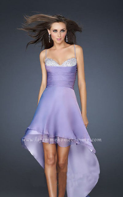 La Femme 17141 Cheap Sequin Spaghetti Strap Sparkle Bust Wisteria High Low Homecoming Dresses