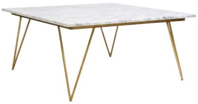 Worlds Away Neal White Marble Gold Coffee Table via Zinc Door